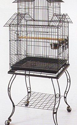 Large-20-Inch-Pagoda-Roof-Top-Top-Parrot-Lovebird-Cockatiel-Cockatiels-Parakeets-Bird-Cage-with-Removable-Stand-0