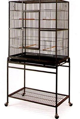 Mcage-Large-Wrought-Iron-Flight-Canary-Parakeet-Cockatiel-Lovebird-Finch-Sugar-Glider-Cage-With-Removable-Stand-Bird-Cage-32-Inch-by-19-Inch-by-64-Inch-0