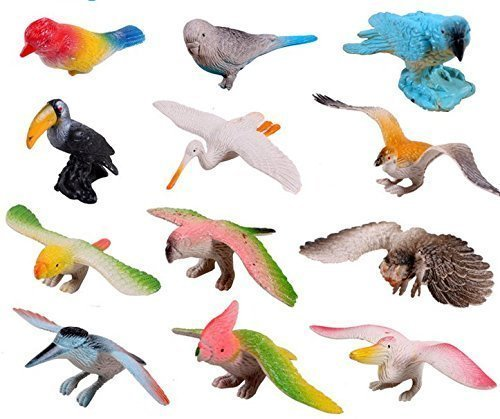 Animals Toys Color : Goodlucky plastic flying birds animals figure toy model