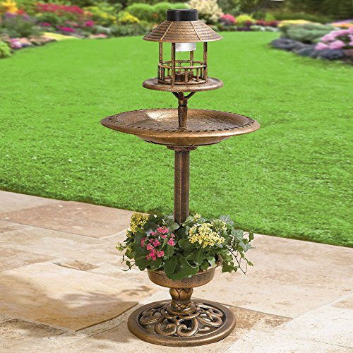 Solar led lighthed bronze resin weatherproof bird bath for Unique yard decorations
