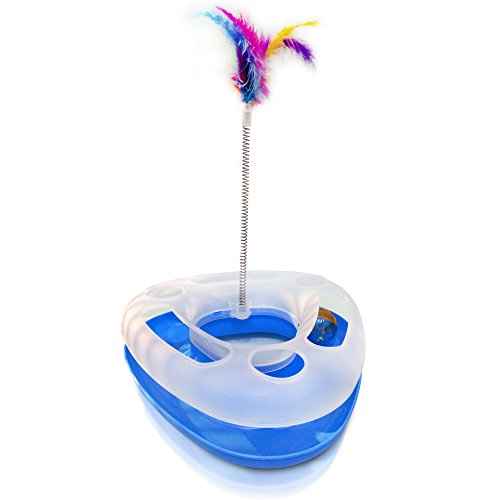 Toys For Spring : Satispet cat toy with spring bird feather in blue